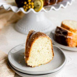 lemon bundt cake slices with lemon glaze