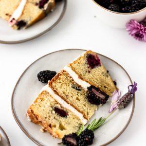 blackberry lavender cake layers