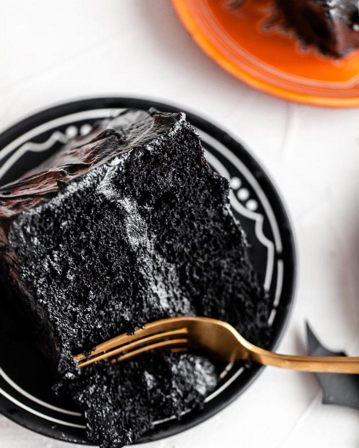 chocolate pumpkin cake slice with black frosting