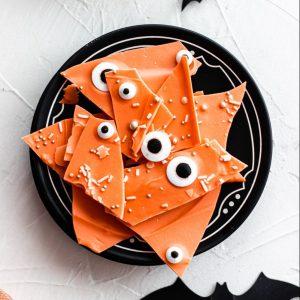 orange halloween chocolate bark