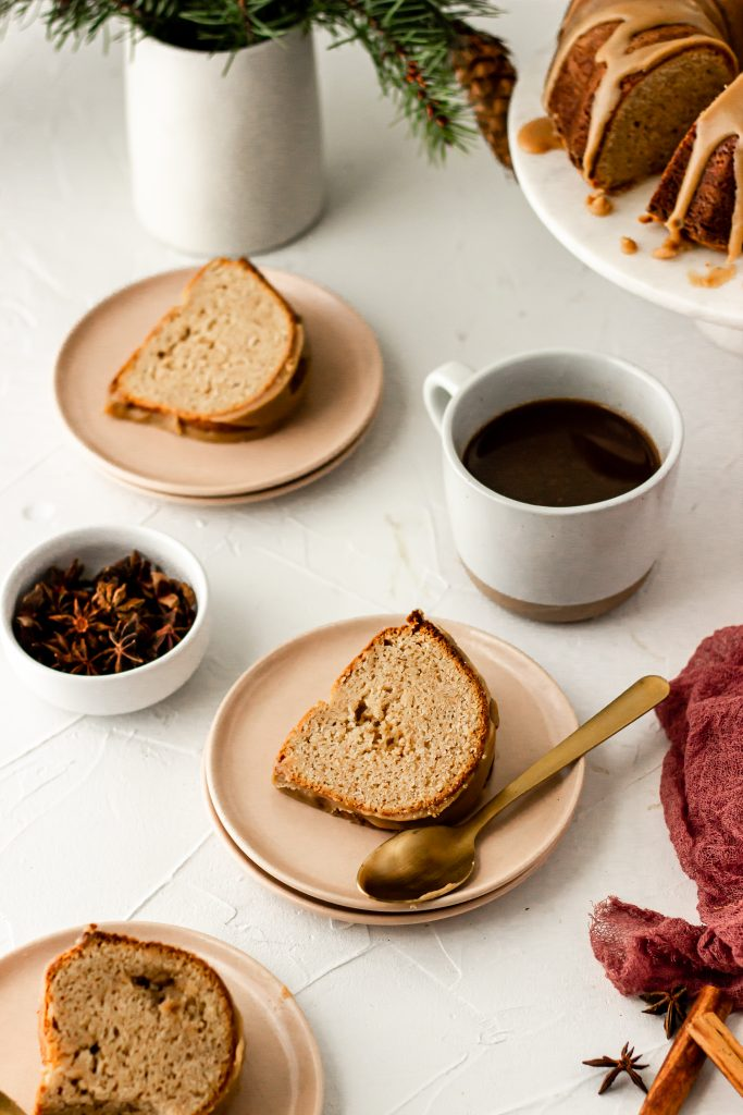 brown butter chai spice bundt cake slices with coffee