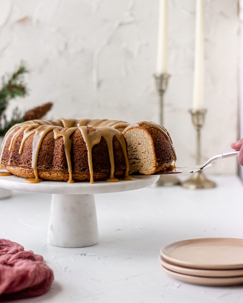 sweetened condensed milk in brown butter chai spice bundt cake