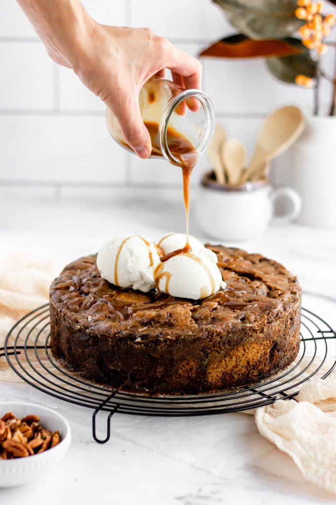 apple pecan cake with butterscotch sauce