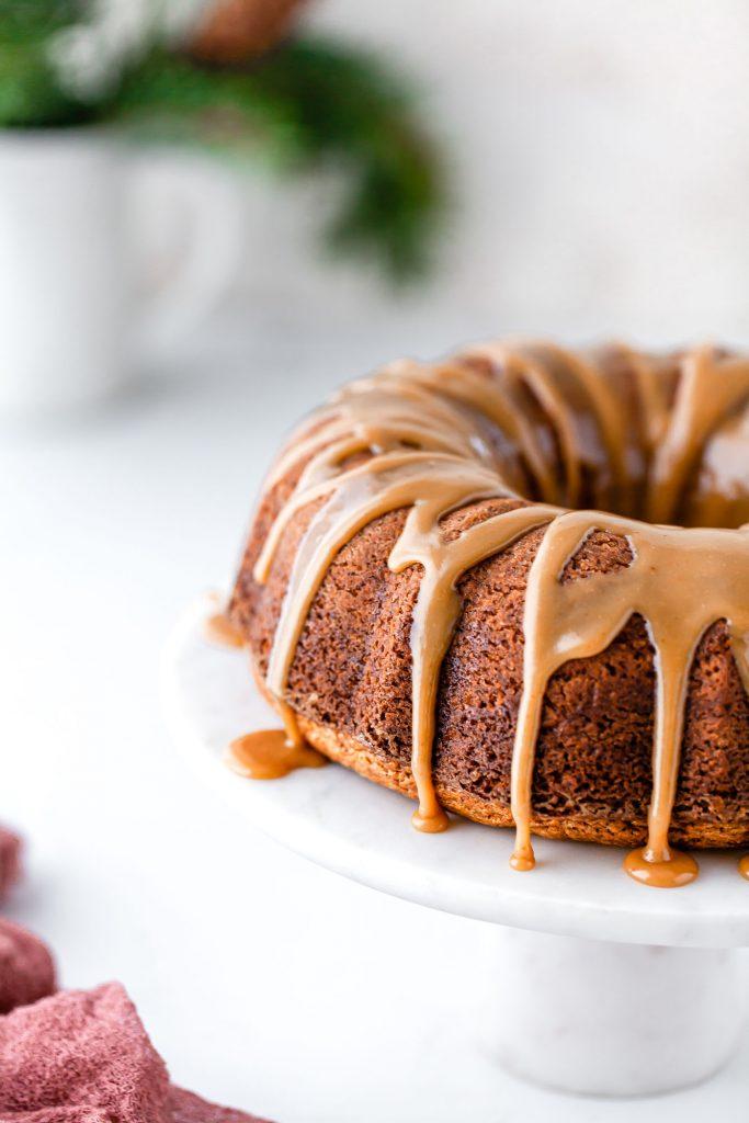 chai spice bundt cake with caramel glaze