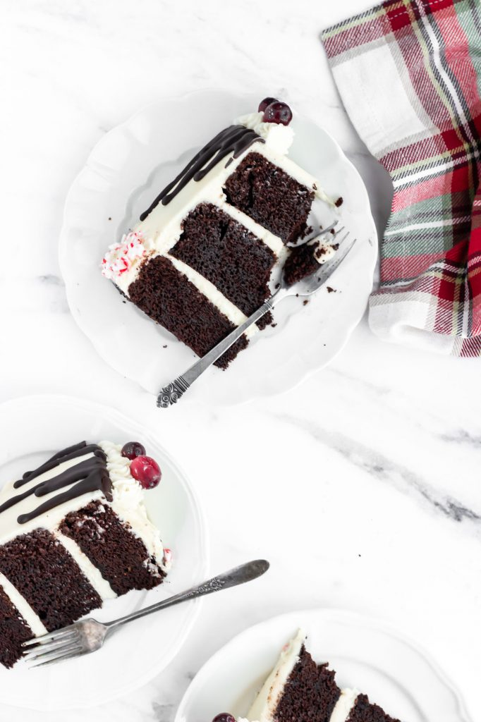 chocolate peppermint bark cake slices