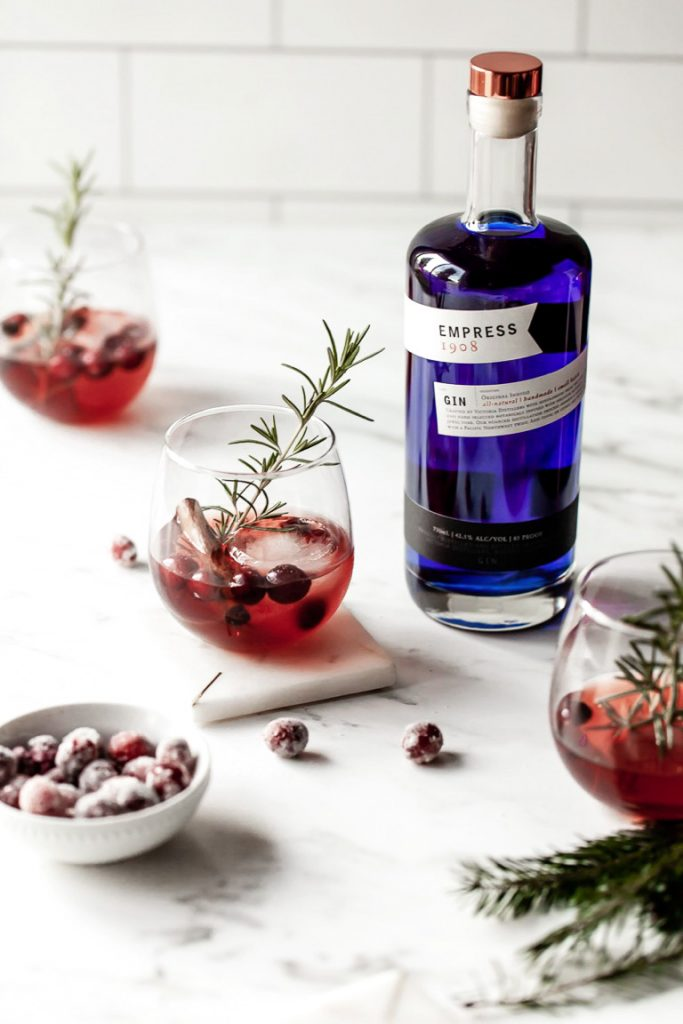 holiday cocktail with empress 1908 gin