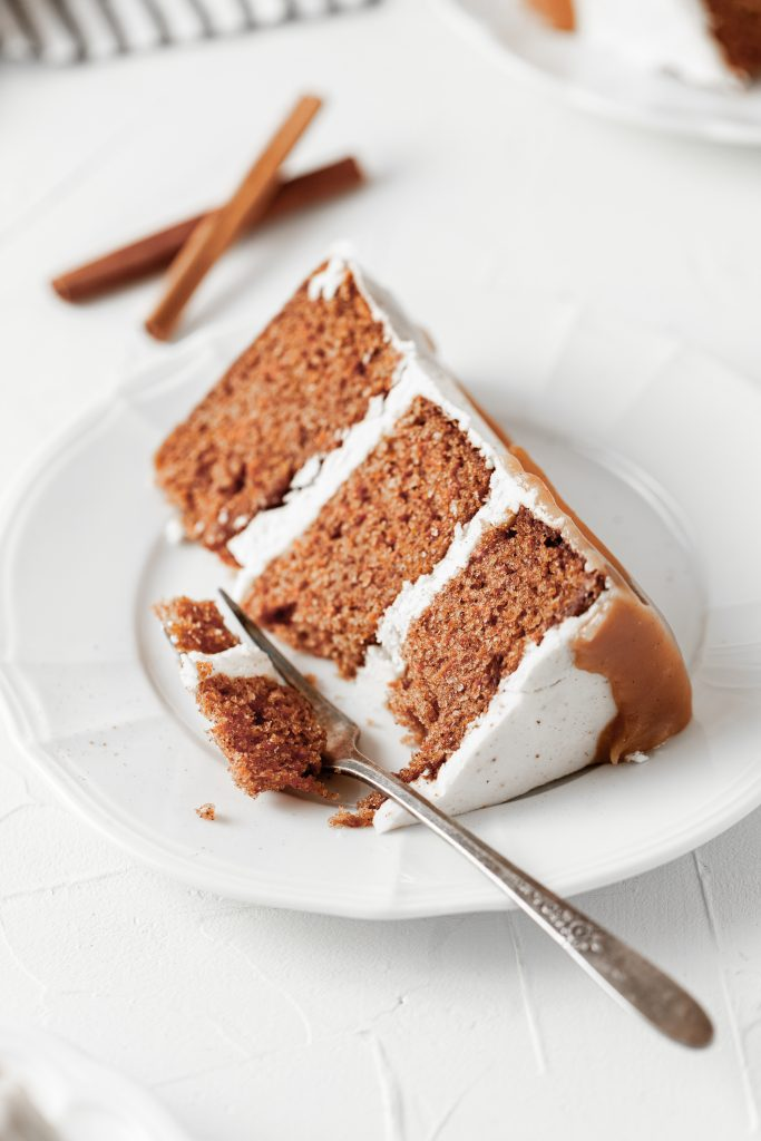 carrot cake with brown butter cake slice