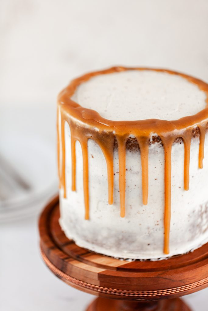 carrot cake with caramel drip