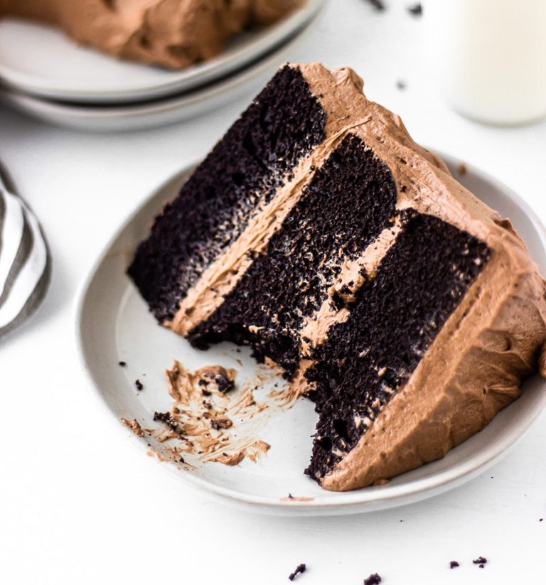 slice of one bowl chocolate cake with chocolate buttercream