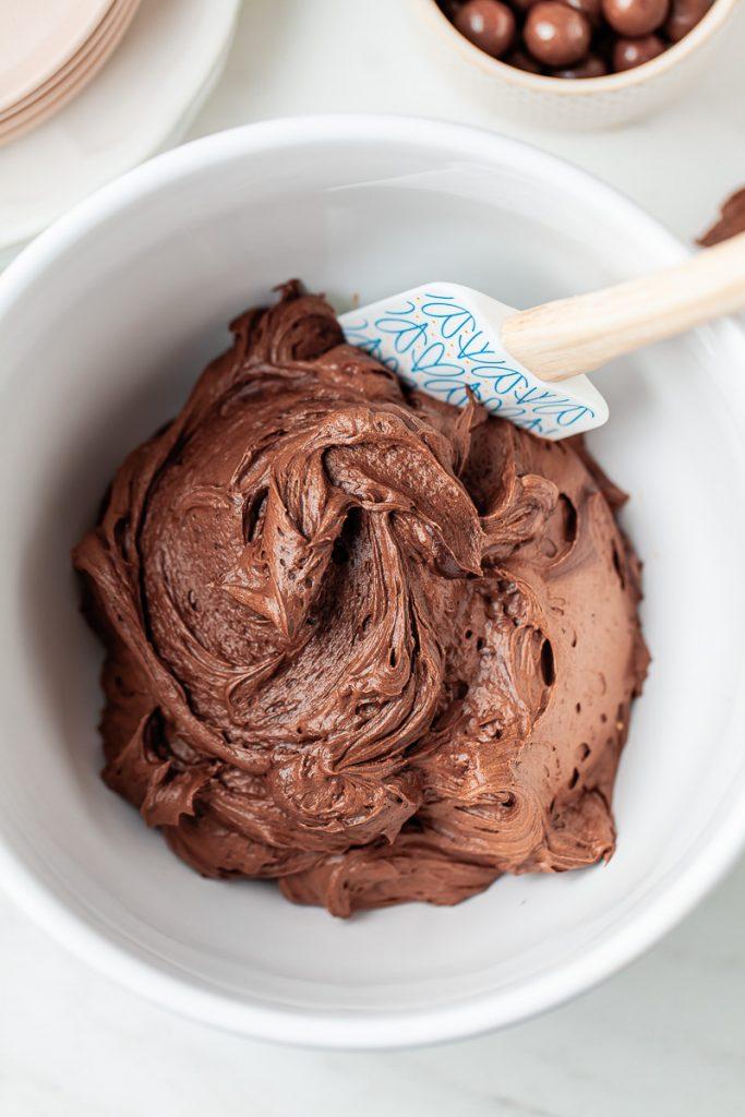 bowl of chocolate malt buttercream