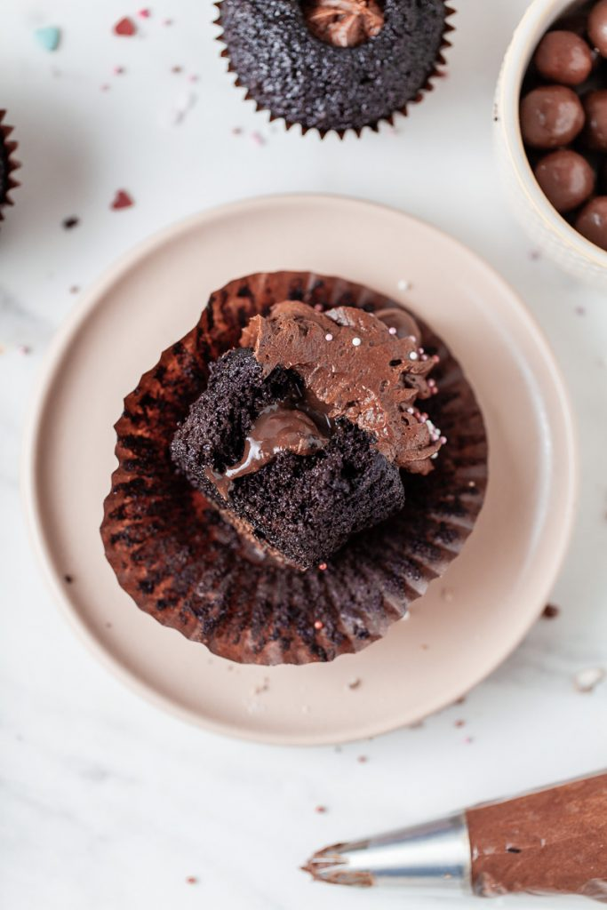 chocolate cupcake filled with ganache