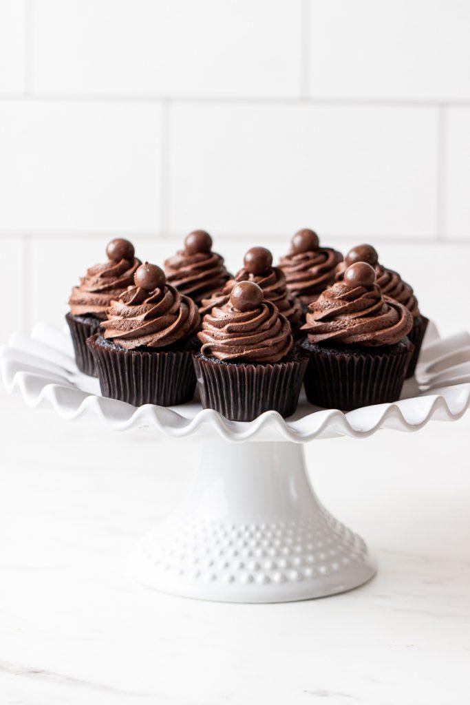 chocolate cupcakes with chocolate malt buttercream