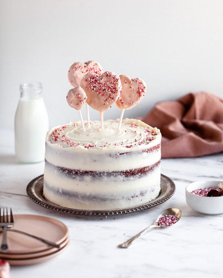 red velvet cake with heart cake pops