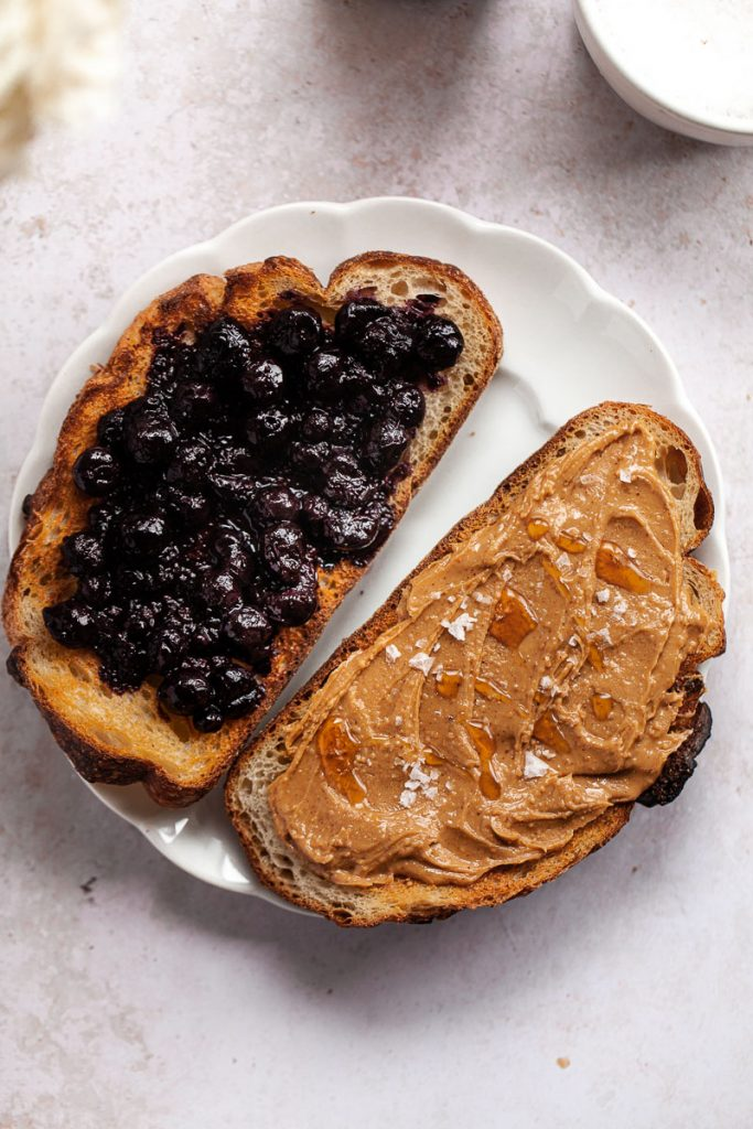 blueberry compote and peanut butter toast