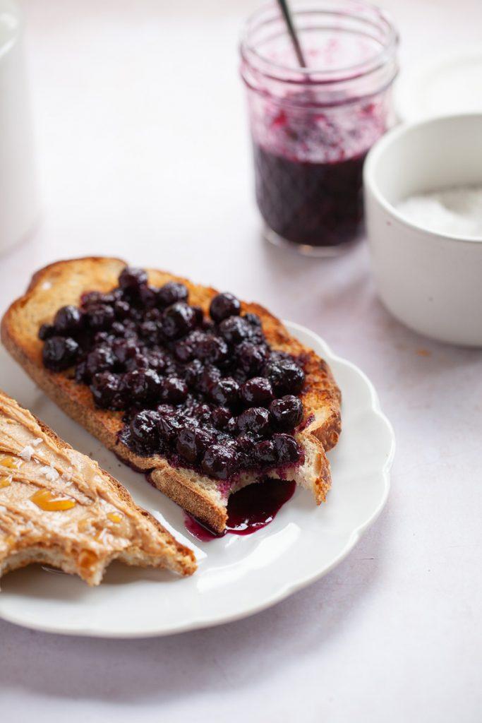 blueberry lemon compote on toast