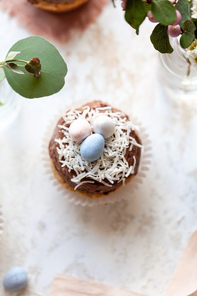 easter egg cupcakes with mini cadbury egg and shredded coconut