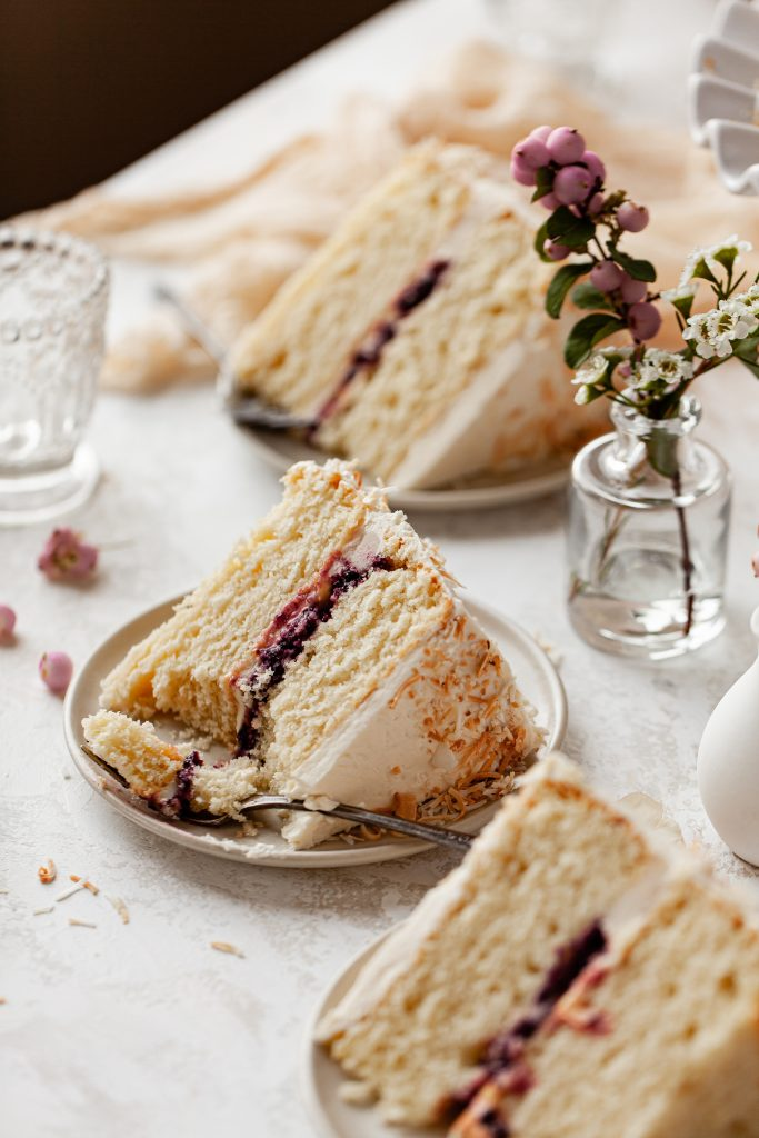 tablescape of cake slices filled with jam