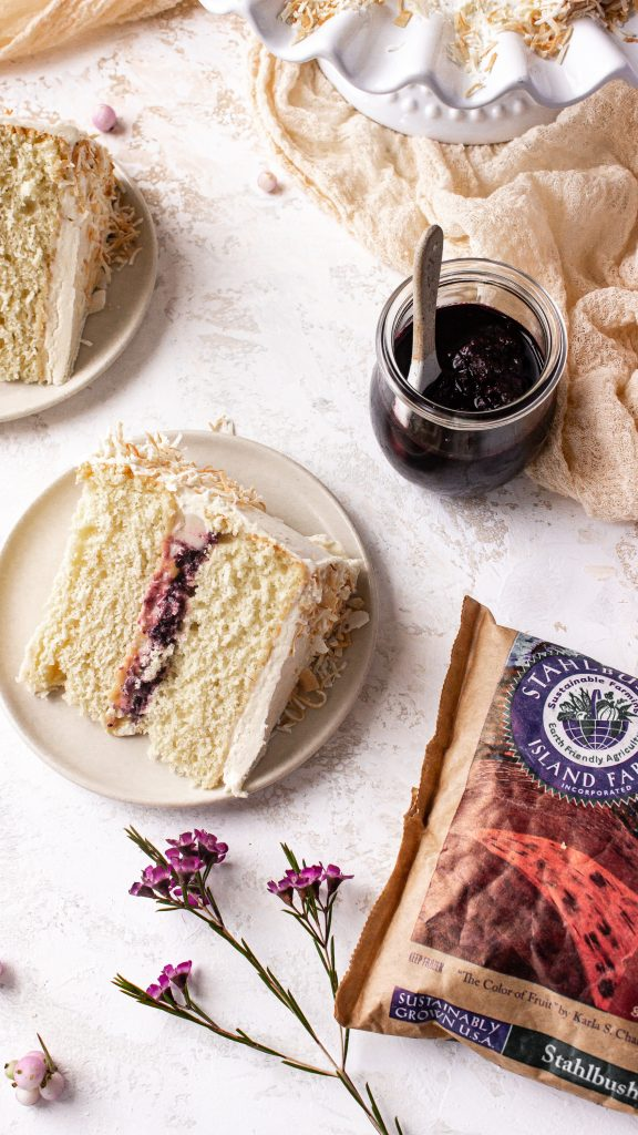 coconut cake with berry compote