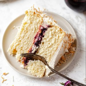 coconut cake recipe with berry compote filling
