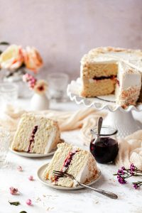 slices of coconut cake filled with jam