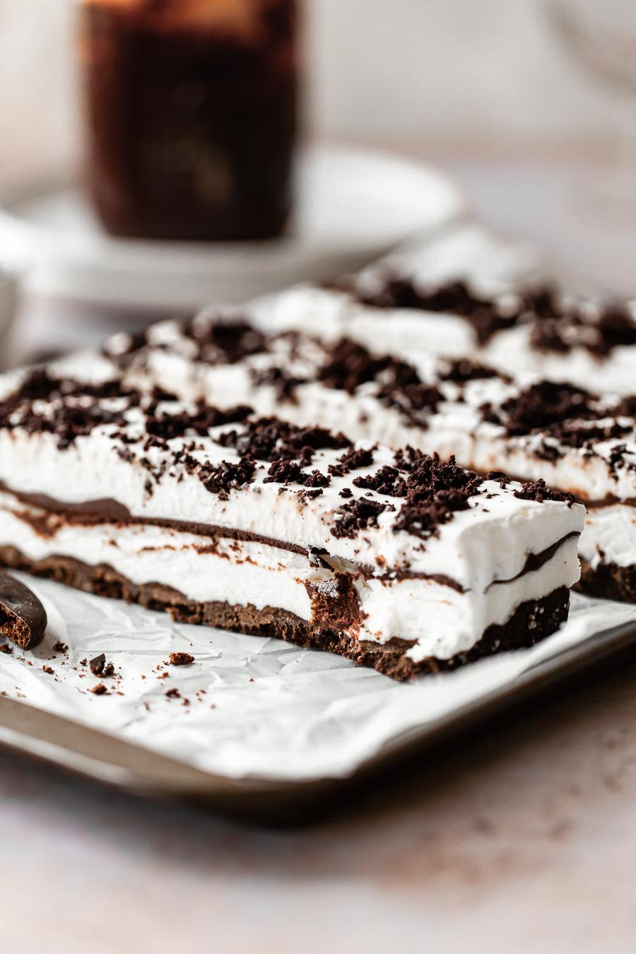 homemade ice cream bars with chocolate layers